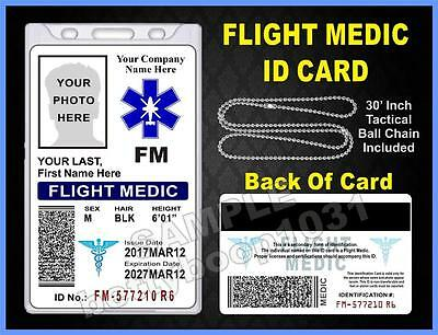 FLIGHT MEDIC ID Card / Badge (EMT / EMS) Custom Printed With Your Photo & Info