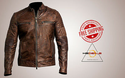 Cafe Racer Men's Biker Vintage Motorcycle Distressed Real Leather Fit Jacket