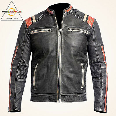Men's Vintage Motorcycle Cafe Racer Biker Retro Black Distressed Leather Jacket