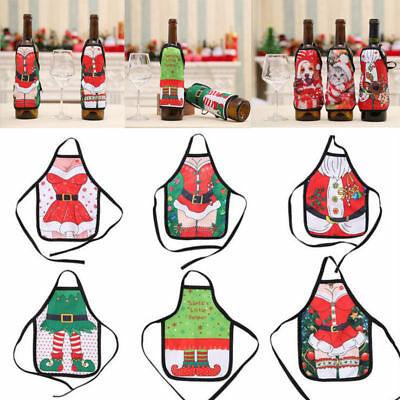 Christmas Santa Wine Bottle Apron Cover Wrap Xmas Dinner Party Table Decor @