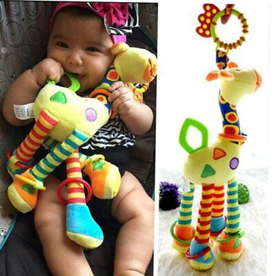 Plush Infant Baby Development Soft Giraffe Animal Handbells Rattles Handle Toys