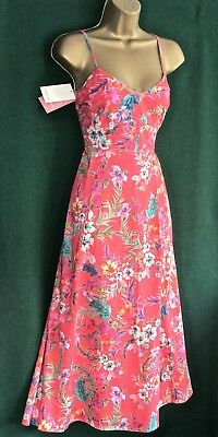 New MONSOON UK 8 10 /Eur38 LINDSAY Coral Pink Floral Cotton Holiday Summer DRESS