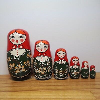 Russian Doll Babushka Matrioshka Matryoshka Nesting Stacking 6 Pcs Red Green