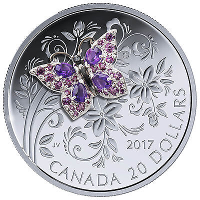 1 Oz Silber Proof Bejeweled Bugs: Butterfly Schmetterling 20$ Kanada 2017 Canada