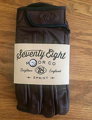 78 Brown leather motorcycle gloves (L), Cafe Racer