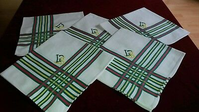 LOT03/ 5 Serviettes de table anciennes 55X57cm Monog LS typ Basque 5 Old napkins