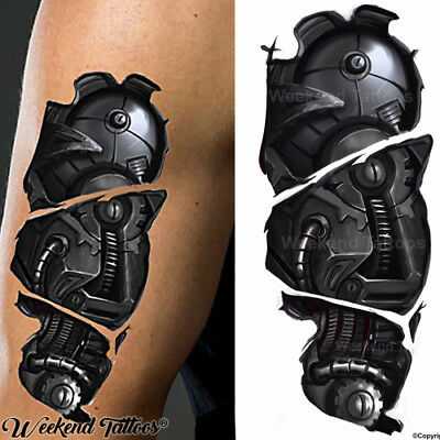 Cyborg Robot Mechanica Arm Tear Steampunk Realistic Temporary Tattoo Steam Punk