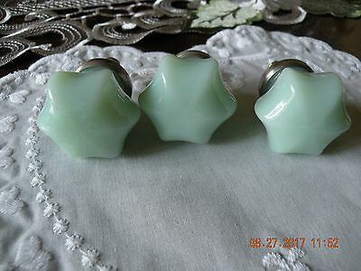 Antique Jadeite Glass Drawer Pulls / Knobs - RARE Original Jadeite - Three (3)