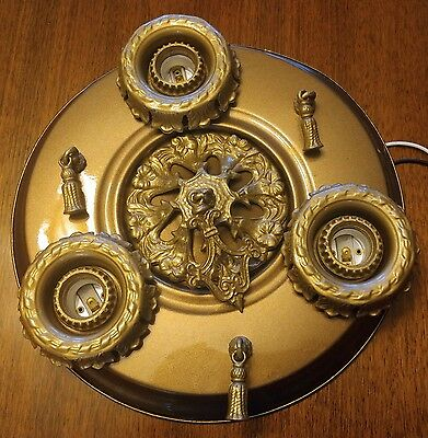 Vintage 3 Light Flush Pan Ceiling Fixture - Ready to Use!