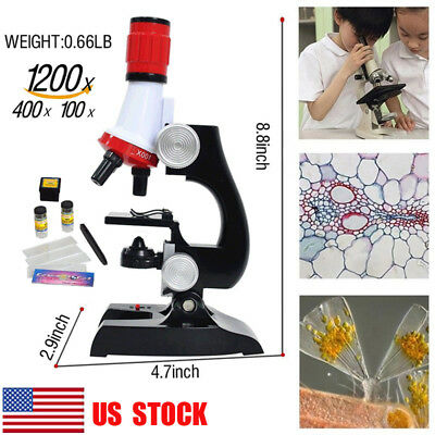 US Pupil Science Lab Beginner Microscope W/LED 100X 400X 1200X Educational Toys