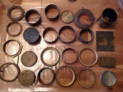 Antique Brass Clock Spare Parts Bezells Rings Face Trims Case 24 Pieces