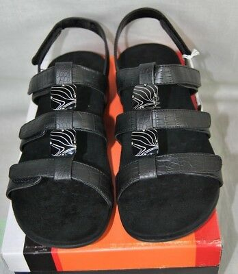 0e1fea68d001 New Vionic Amber Sandal Shoe Black Croc Womens Slide Adjustable Orthaheel