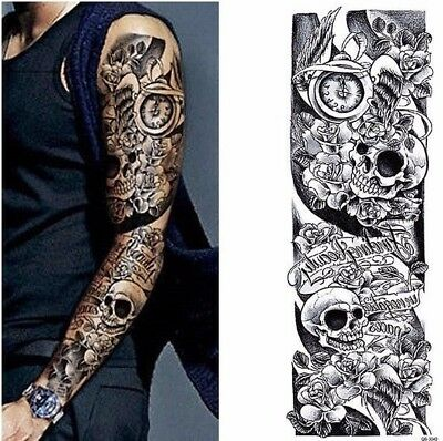 Full Arm Black Skulls Snake Roses Bones Tribal Tattoo Temporary Tattoo