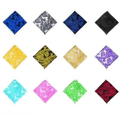 Men Vintage Pocket Paisley Square Hanky Hankerchief Floral Wedding Party Banquet