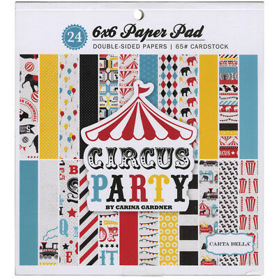 """Carta Bella Double-Sided Paper Pad 6""""X6"""" 24/Pkg-Circus Party, 12 Designs/2 Each"""