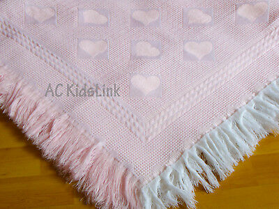 New Baby Girl Pink Blanket Shawl with Fringe - Heart Pattern