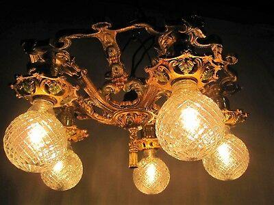 Chandelier Antique Restored  Polychrome 5 Light Bronze Gold 2 Light Available