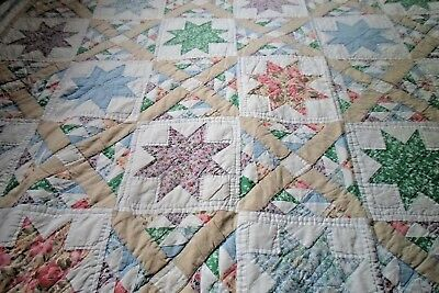 "Vintage ARCH QUILT 8 Point Star Patch Work 96""x 84"" very good Squares Triangles"