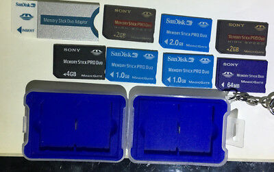 Collection of Sony & San Disk memory stick duo's 3x 2GB, 1x 4GB 2x 1GB 1x 64MB