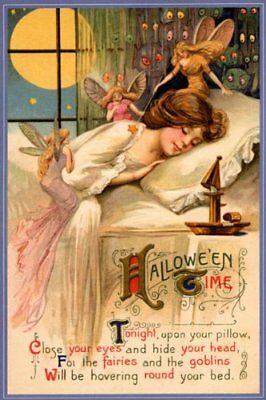 Girl Dream Halloween Time Fairies Vintage Poster Repro