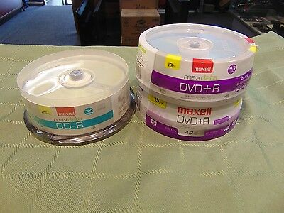 Maxell Dvd+R 30 Discs & Maxell Cd-R 25 Disc Bundle Brand New Ready 2 Ship Today
