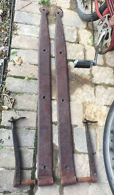 "44"" Hand Wrought Iron Strap Hinges Barn Vintage Primitive"