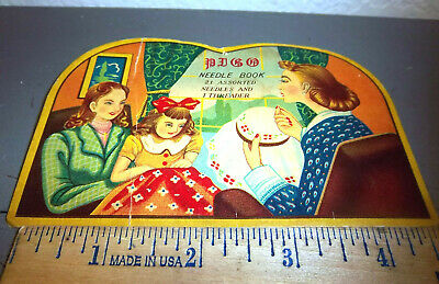 Vintage PIGO Sewing Needle Book, great graphics & colors, some needles left