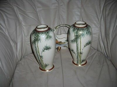 """Clearance!  Pair Of Antique Meiji Period Japanese Imperial Satsuma Vases 9"""" Tall"""
