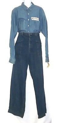 The Shawshank Redemption (1994) Prison Uniform Blue Denim Shirt Denim Pants