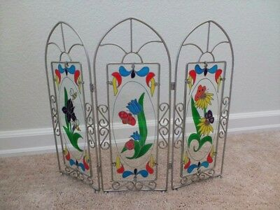 Beautiful Floral Design Stained Glass 3 Panel-Set