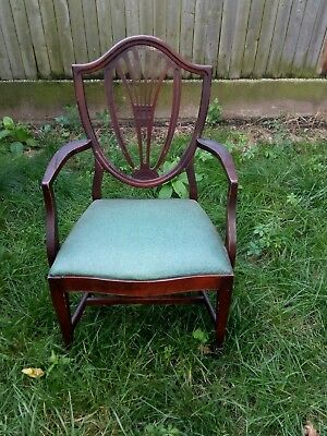 4 Vintage Drexel Mahogany Dining Room Chairs Hepplewhite Shield Back Armchairs