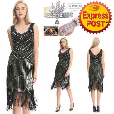 NEW 1920s Flapper Dress Gatsby Charleston Deco Sequin Fringe Vintage Panty SMLXL