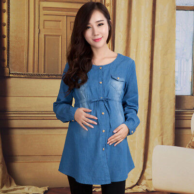Maternity Top Adjustable Belt Blouse Button Stylish Jean Shirt Pregnancy Clothes