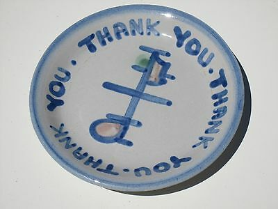 "M.A. Hadley Signed ""Thank You"" Tip Dish Coaster"