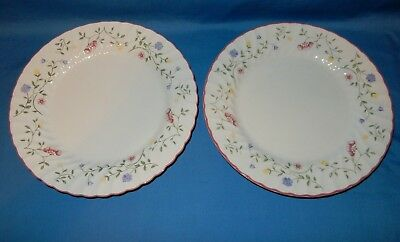 "2 Johnson Brothers Summer Chintz 10.5"" Dinner Plates Pink Trim with Wildflowers"