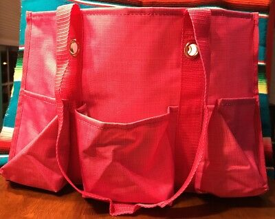 Thirty-one Organizing Utility Tote in Pink Crosshatch - 7 Outer Pockets - GREAT!