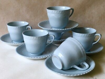 JOHNSON OF AUSTRALIA - 6 Tea Cup & Saucer Duos Pale Blue Piecrust Vintage Retro