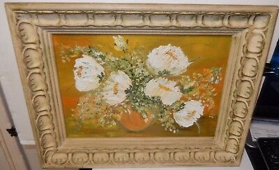 Rose R. Vintage Original Oil On Board White Floral Vase Painting