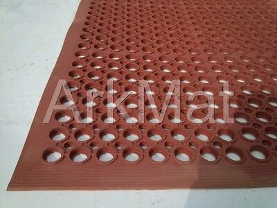 Three Rubber Workplace Anti Fatigue Mats Red 3ft x 5ft x 12mm - 3 mat special