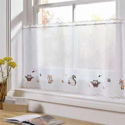 """Woodland Animals Embroidered 59 X 18"""" – 150 X 45Cm Kitchen Cafe Curtain Panel"""
