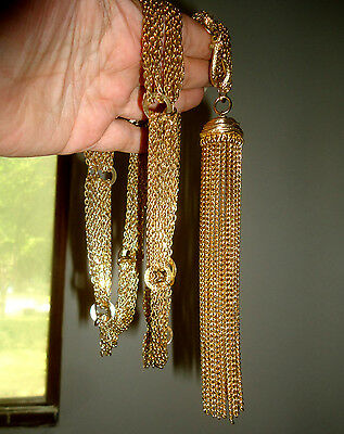 "A Wonderful Vintage 6"" TASSEL on a 34"" Belt or Necklace - Curb Chain Swag - GT"
