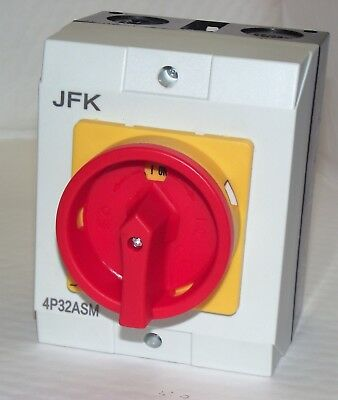 Isolator Switch 32 amp 4 Pole IP65 400 Volt 3 Phase Water & Dust Proof