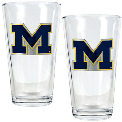 Great American Products Michigan Wolverines 2 Piece Pint Glass Set