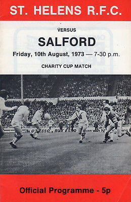 St.helens V Salford (Charity Cup Match) Rugby League Programme 10-8-73