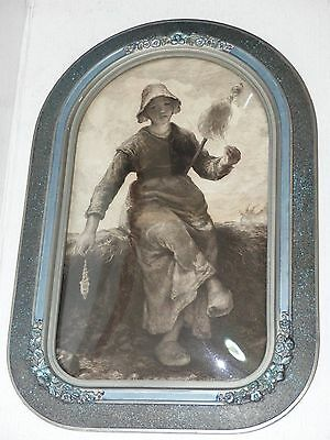 Antique Dutch Masters Etching Girl Spinning Wool Goat Oval Curved Bubble Glass
