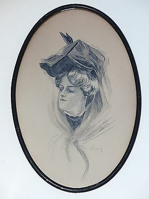 ANTIQUE 1906 INK DRAWING VICTORIAN WOMAN SIGNED ERMA ZELDA WILK FLAGG or GIBSON?