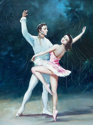 Ballet Dancers Rare Old Antique Oil Painting Signed Vidal Couple Dancing -Italy