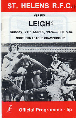 St.helens V Leigh Rugby League Programme 24-3-74