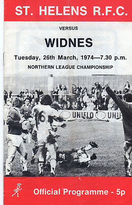 St.helens V Widnes Rugby League Programme 26-3-74