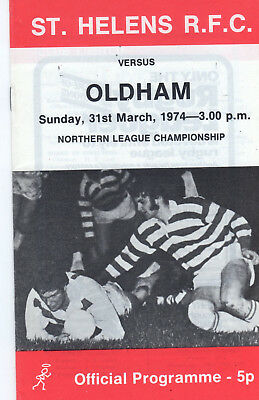 St.helens V Oldham Rugby League Programme 31-3-74